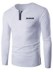 Notch Neck Button Embellished Long Sleeve T-Shirt - WHITE