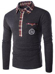 Plaid Collar Embroidery Long Sleeve T-Shirt - GRAY