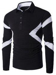 Slim-Fit Spliced Long Sleeve Polo Shirt - BLACK