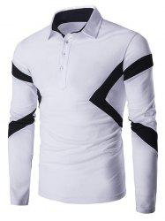 Slim-Fit Spliced Long Sleeve Polo Shirt - WHITE