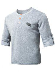 Round Neck Button Embellished Half Sleeve Sweatshirt