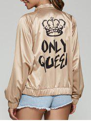 Only Queen Satin Bomber Jacket - CHAMPAGNE L