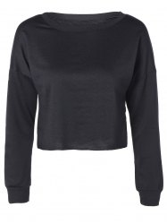 Drop Shoulder Round Collar Raw Edge Crop Sweatshirt -