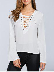 Lace-Up Flare Sleeve Top -