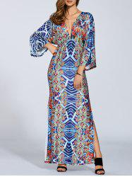 Plunging Neck Kimono Sleeve Maxi Dress -