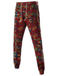 Floral Print Mid-Rise Linen Drawstring Jogger Pants - RED