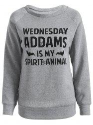 Wednesday  Addams Letter Sweatshirt - GRAY 2XL