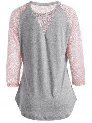 Lace Spliced See Through Sleeve Blouse