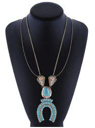 Layered Horseshoe Faux Turquoise Necklace