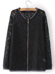 Plus Size Lace Zip Up Jacket -