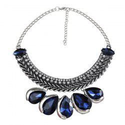 Rhinestone Teardrop Knitted Metal Necklace -