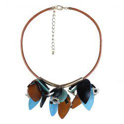 Resin Flower Leaf Statement Necklace -