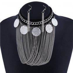 Embossed Disc Fringe Metal Necklace Set -