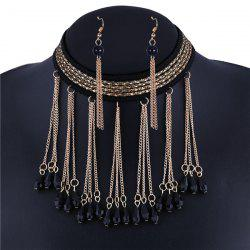 Teardrop Knitting Line Alloy Chain Necklace Set -