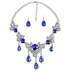 Rhinestone Teardeop Maple Necklace Set -