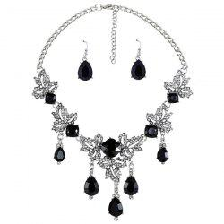 Rhinestone Water Drop Maple Necklace Set -