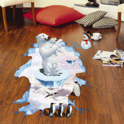 Creative Removable 3D Polar Bear Penguins Bedroom Kindergarten Floor Sticker