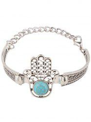 Fake Turquoise Palm Alloy Bracelet - SILVER