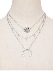 Moon Flower Layered Pendant Necklace -