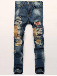 Distressed Zipper Fly Patch Design Straight Leg Jeans - BLUE 38