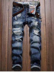 Distressed Zipper Fly Straight Leg Jeans - Bleu