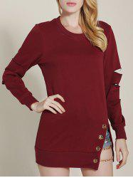 Cut Out Ripped Sleeve Chain Design Sweatshirt