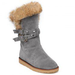 Faux Fur Buckle Rivet Snow Boots