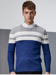 Color Block Splicing Stripe Design Crew Neck Long Sleeve Sweater - DEEP BLUE