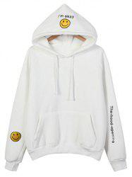 Embroidered Thickening Hoodie - WHITE