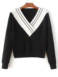 V Neck Color Block Crossed Sweater -