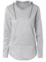 Pocket Design Arc Hem Drawstring Hoodie - GRAY XL