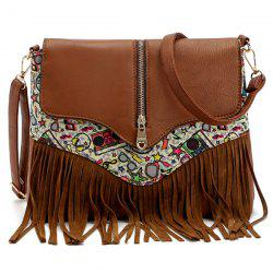 Printed Zip Embllished Fringe Bag