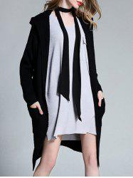 Plus Size Knitted Hooded Duster Cardigan - BLACK