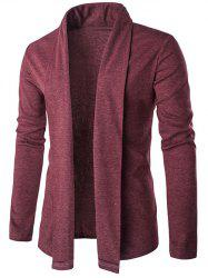 Slim Shawl Collar Long Cardigan - RED