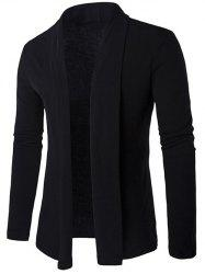 Slim Shawl Collar Drape Cardigan - BLACK