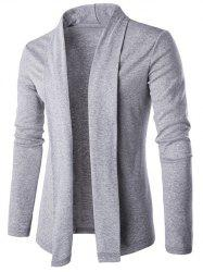 Slim Shawl Collar Drape Cardigan - LIGHT GRAY