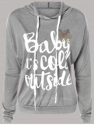 Letter Print Snow Pattern Plus Size Hoodie - LIGHT GRAY 5XL