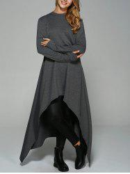 Asymmetrical Loose-Fitting Hoodie - DEEP GRAY