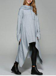 Asymmetrical Pocket Design Loose-Fitting Neck Hoodie - LIGHT GRAY