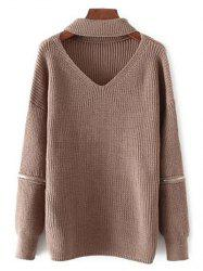 Oversized Choker Sweater - COFFEE