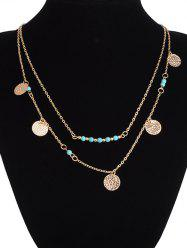 Layered Sequin Beaded Pendant Necklace -