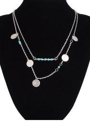 Layered Sequin Beaded Pendant Necklace