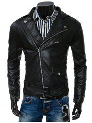 Turn-Collar PU-Leather Belt Embellished Epaulet Long Sleeve Jacket For Men - BLACK