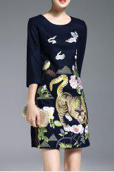 Animal Embroidered A Line Dress -