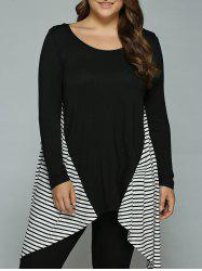 Plus Size Striped Loose Fitting Asymmetrical Blouse -