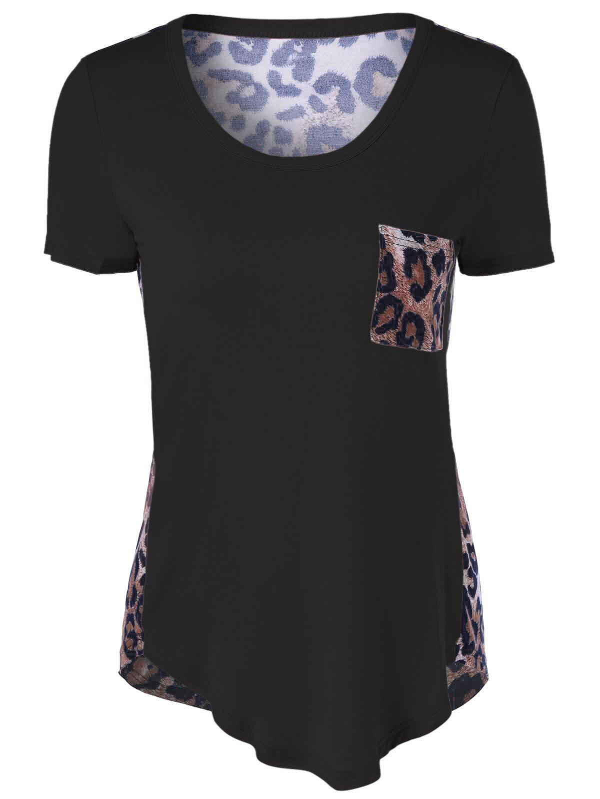 Single Pocket Leopard Asymmetrical T-Shirt от Rosegal.com INT