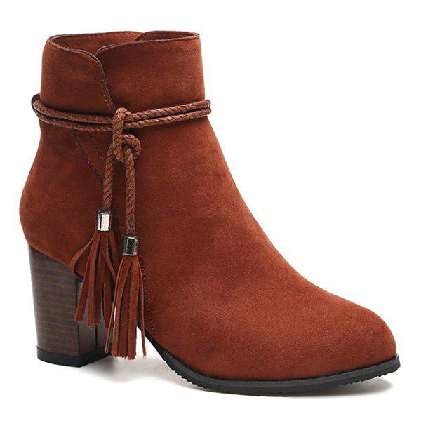 Latest Zipper Tassels Suede Ankle Boots