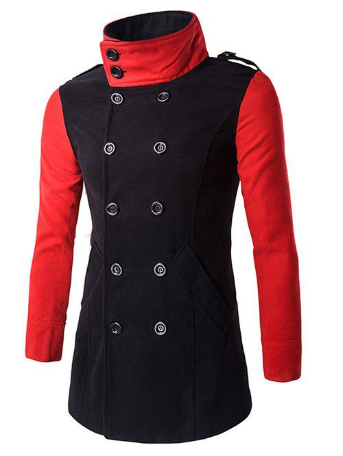 Cheap Turn-Down Collar Color Block Pea Coat
