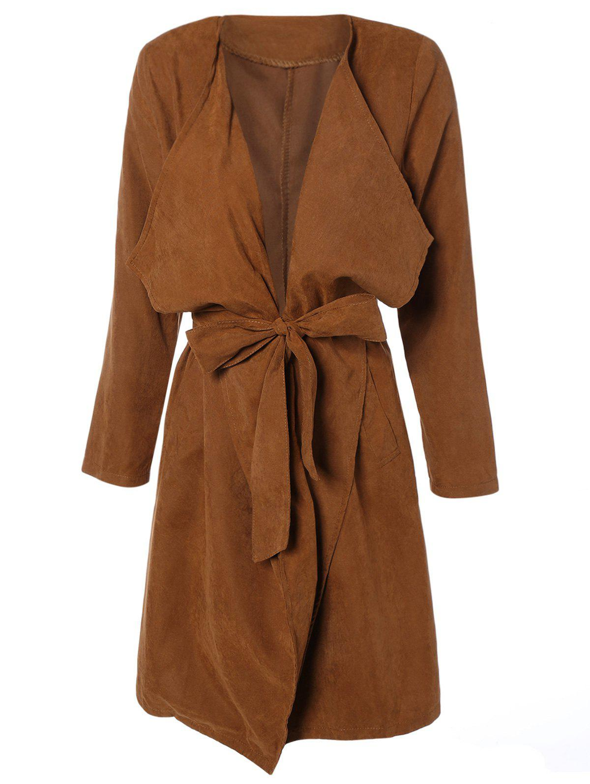 Discount Draped Wrap Coat with Belt