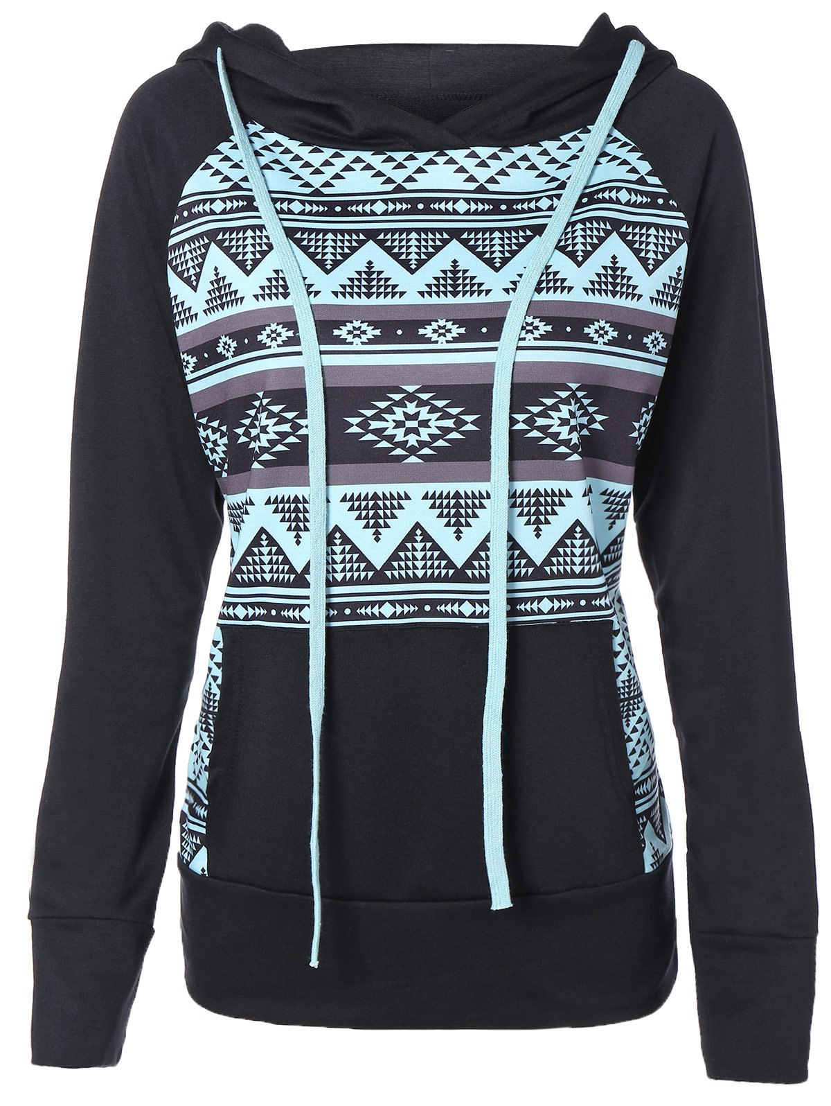 Outfit Zigzag Print Slimming Pullover String Hoodie